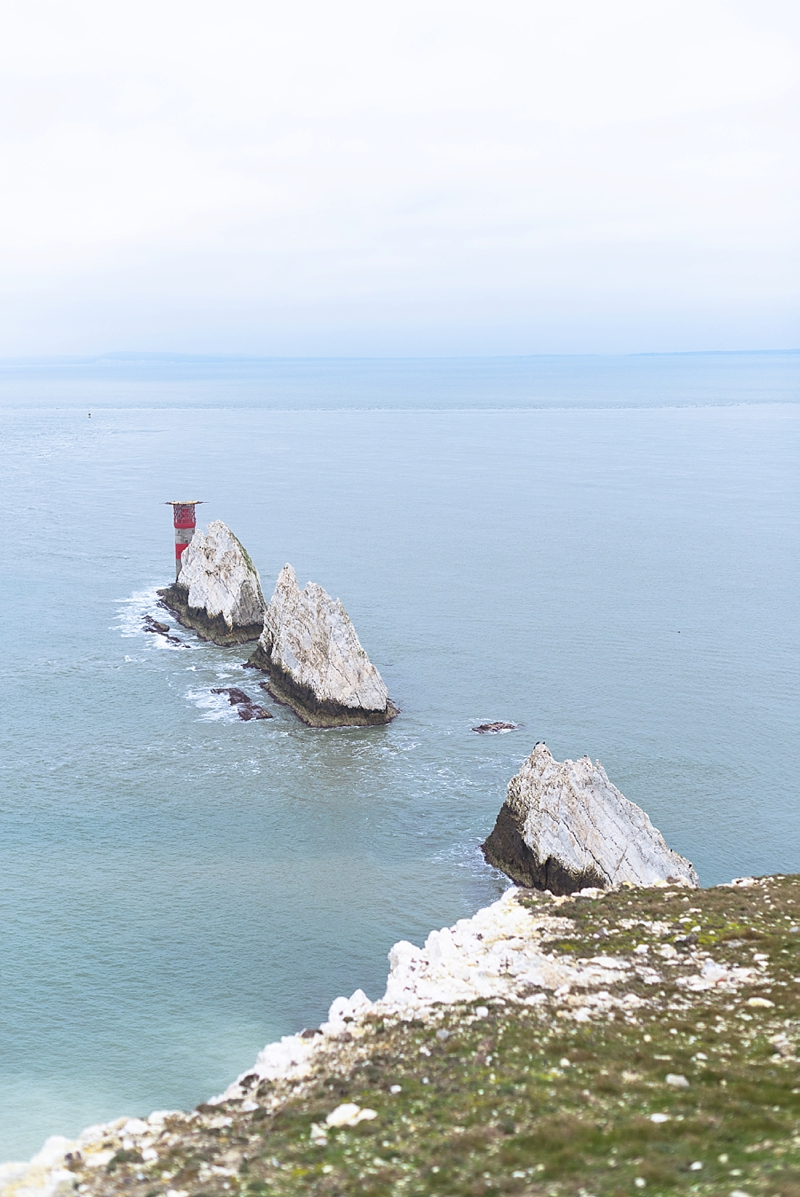 The famous Needles and its red lighthouse on Isle of Wight
